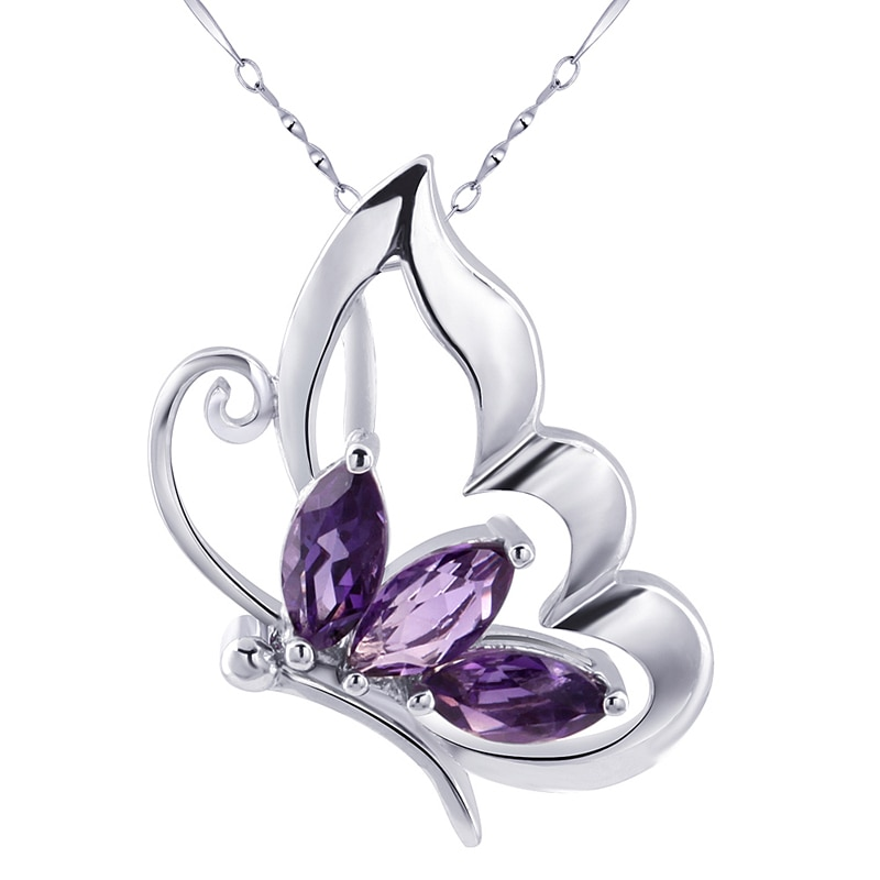 Colgante de amatista Natural, Collar de plata de ley 925, joyería de mariposa fina a la moda para mujer, regalo de piedra natal Cristal púrpura sp0163a