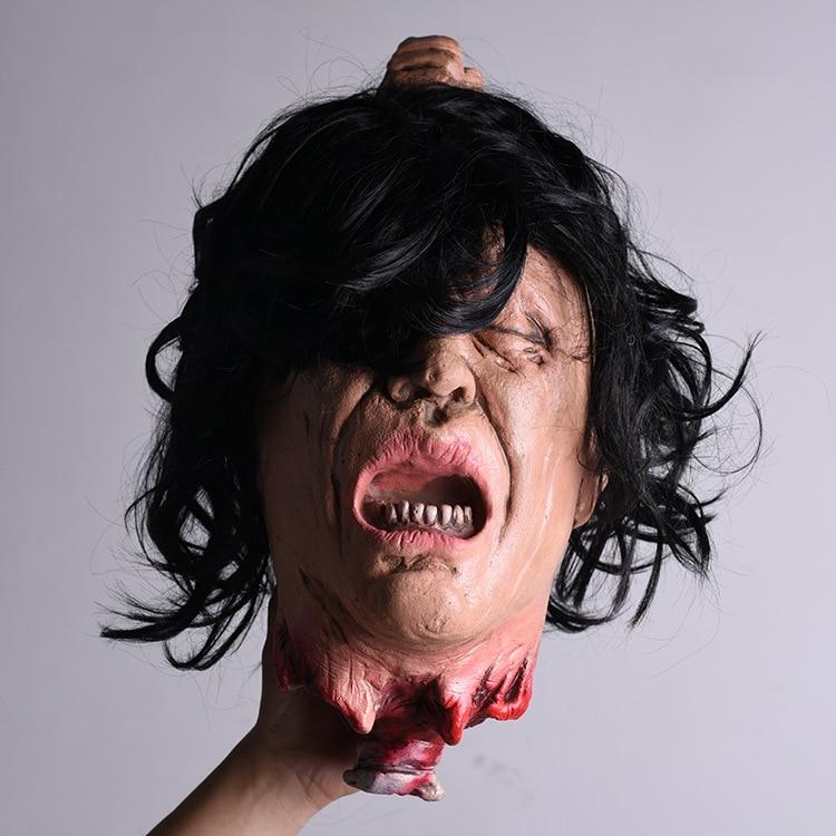 Suministros para fiesta con colgante de terror de Halloween, cabezas de Zombie de simulación de cara espeluznante colgante para Halloween cabeza de fantasma HW29