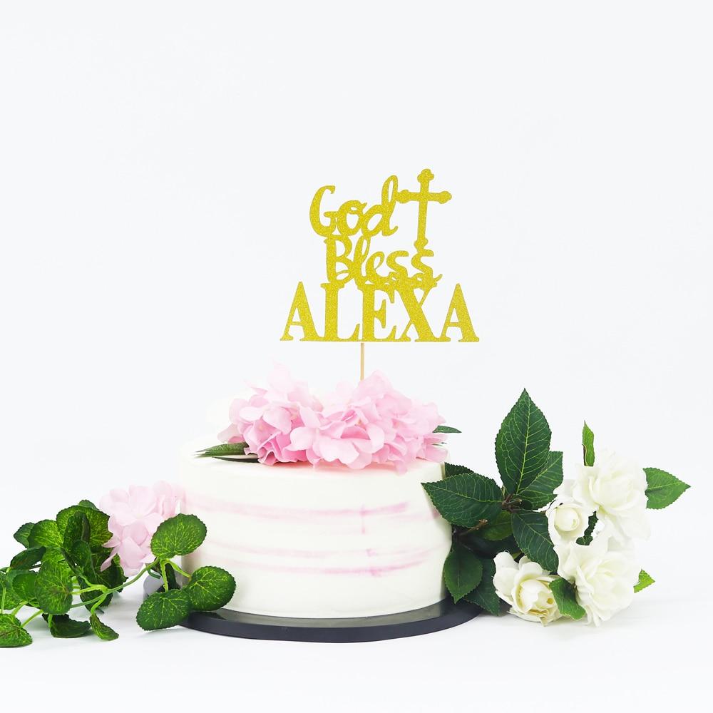 Décoration de gâteau à paillettes béni de dieu   Décoration de gâteau de première Communion, décorations à paillettes pour bébé fille ou garçon, dévouement à Confirmation