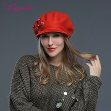 LILIYABAIHE  Women hat brim  knitted wool angora cap  Winter hat  hand made Rose flower cap girl