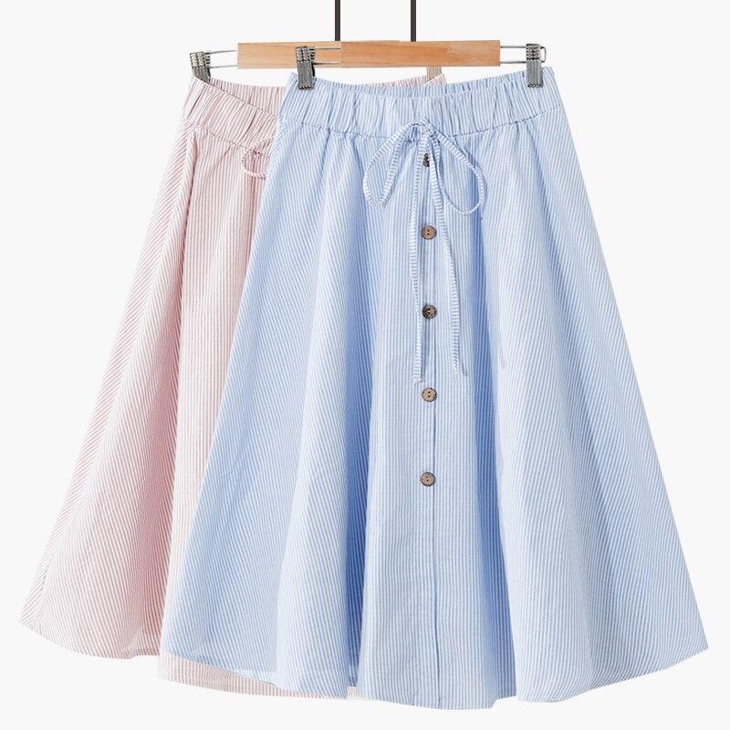 22 стильные хлопковые льняные розовые полосатые юбки для женщин, летние трапециевидные юбки средней длины до колена с высокой талией для школьниц
