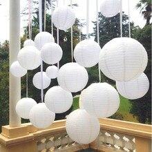 Lanternes en papier chinois blanc 6-8-10-12-14 pouces   Pour fête et mariage, décoration boule de papier blanche suspendue, bricolage, vente en gros