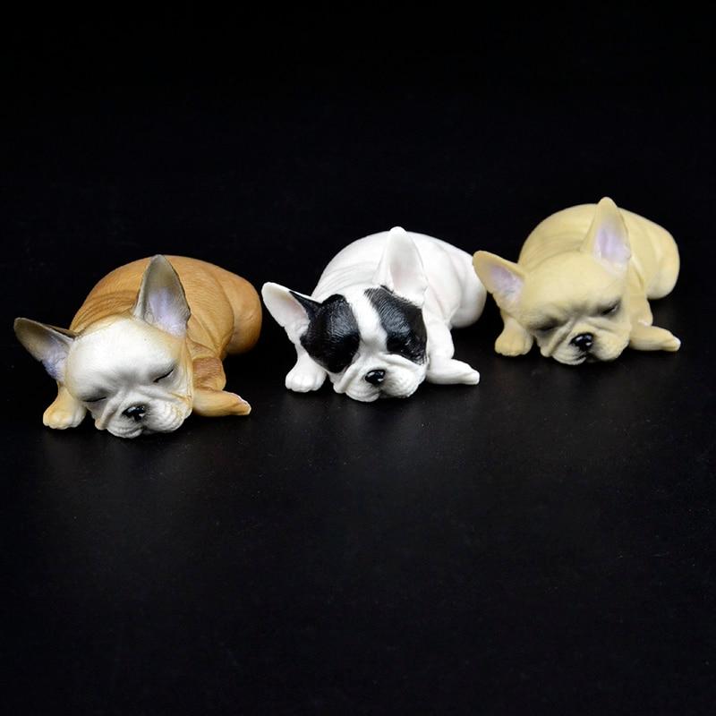 1/6 animales de granja divertido lindo mascota perezoso bulldog francés bebé pitbull cachorros dormir figuras coleccionables juguete