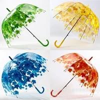 12pcslot transparent thicken pvc mushroom green leaves rain clear leaf bubble umbrella
