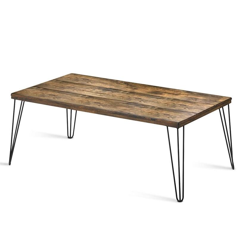 Смешанный стильный деревенский промышленный твёрдый деревянный прямоугольный журнальный столик большой деревенский деревянный поверхно...