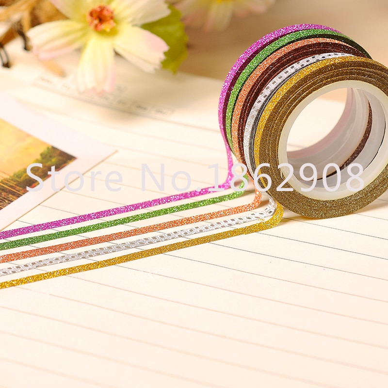 10 colors 3mm glitter tape adhesive masking washy tape