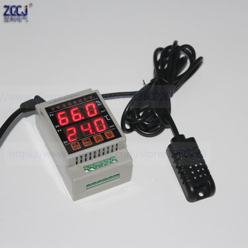 Termostato e higrômetro digitais do ruído de 35mm com sensor CJ-DTH-40 8585c c 0.0 rh 99.9% rh da temperatura e da umidade do ruído