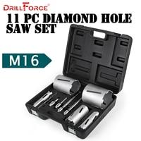 Drillforce 11PCS Diamond Hole Saws Set 53/72/83/112/132mm Durable Carborundum Ceramics M16 Thread Drill Core