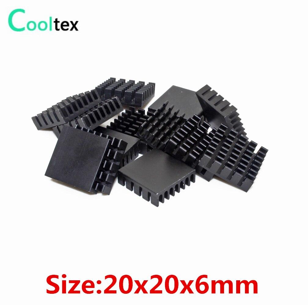 Алюминиевый радиатор, 50 шт., алюминиевый радиатор 20x20x6 мм, радиатор для электронного чипа VGA RAM, светодиодный IC 3D принтер, охладитель, охлаждение
