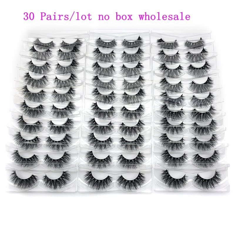 Mikiwi 30 par/pack 3D visón pestañas con la bandeja No caja hecha a mano la tira de pestañas de visón pestañas falsas maquillaje pestañas cilios