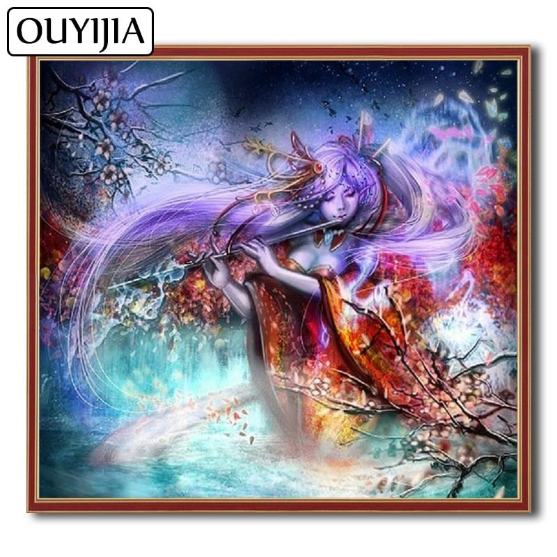 OUYIJIA TR aceite mariposa Beautys 5D DIY diamante pintura pájaro espíritu bordado mosaico diamante flores decoración