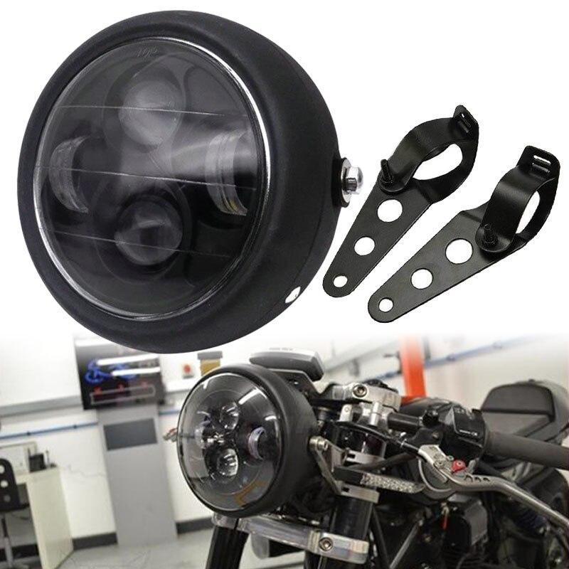 "JX-LCLYL 6,5 ""negro mate faro LED para motocicleta Hi/Lo haz con soporte Cafe Racer"