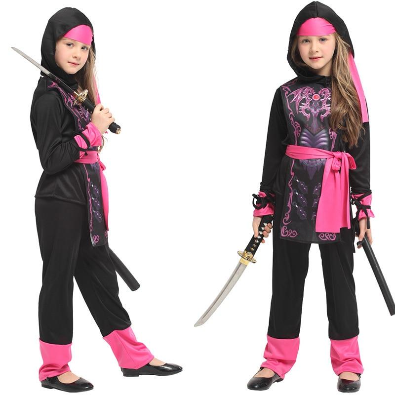 Niñas niños anime japonés traje de ninja guerrero samurai ropa cosplay disfraces de Halloween carnaval negro espadachín