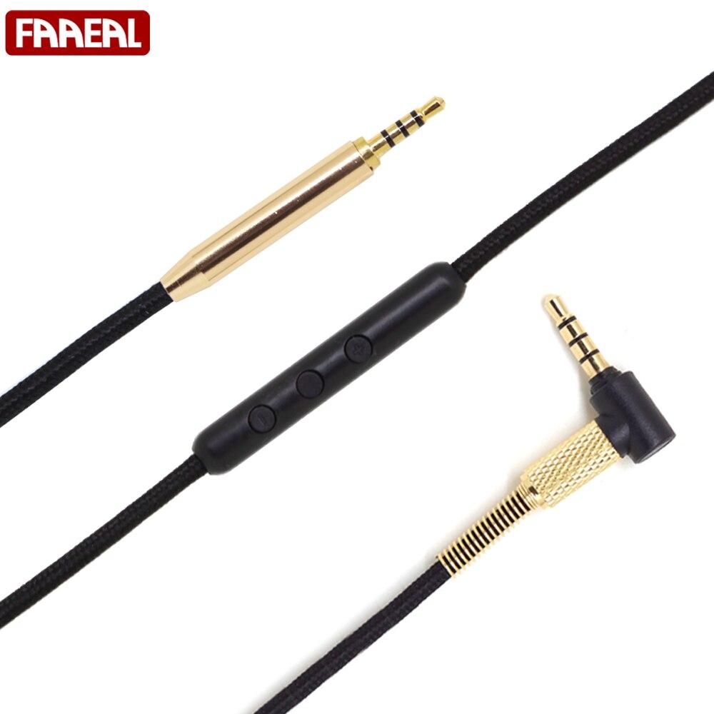 Para Bose QC25 5N-OCC Cable de teléfono Hesdphone plateado 3,5 a 2,5 Cable de reemplazo de línea de actualización de auriculares para OE2/QC35/OE2i/AE2 con micrófono