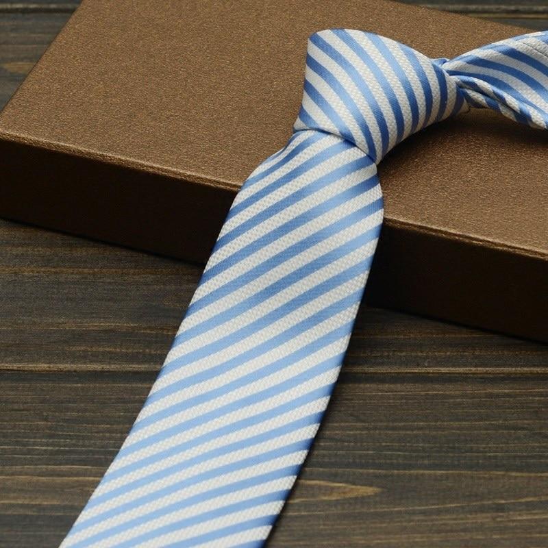 2019 New Fashion Slim Microfiber Business Ties for Men Striped Sky Blue 6cm Gravata Profession Work Corbatas Skinny Gift Box