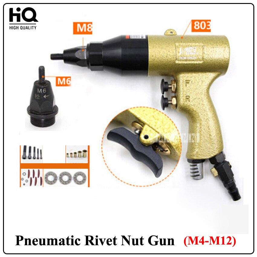 """Nova chegada M4-M12 pistola de porca rebite pneumático (803 corpo da arma + m6/m8 cabeça arma) 700rpm 5cfm 3/8 """"(9.5 m/m) pneumático puxar tampa arma"""