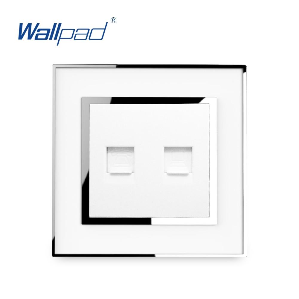Toma de teléfono y datos RJ45 RJ11 Wallpad Internet de lujo teléfono compelter Network Outlet espejo acrílico Panel Tomada