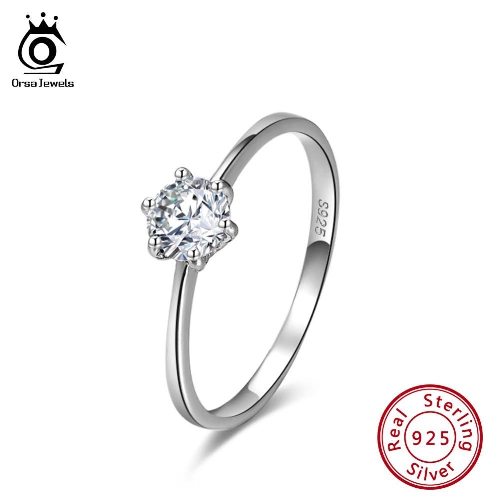 Orsa jóias 925 anel de prata esterlina aaaa zircon cúbico 2020 propor casamento noivado anéis de casamento jóias para mulher sr116
