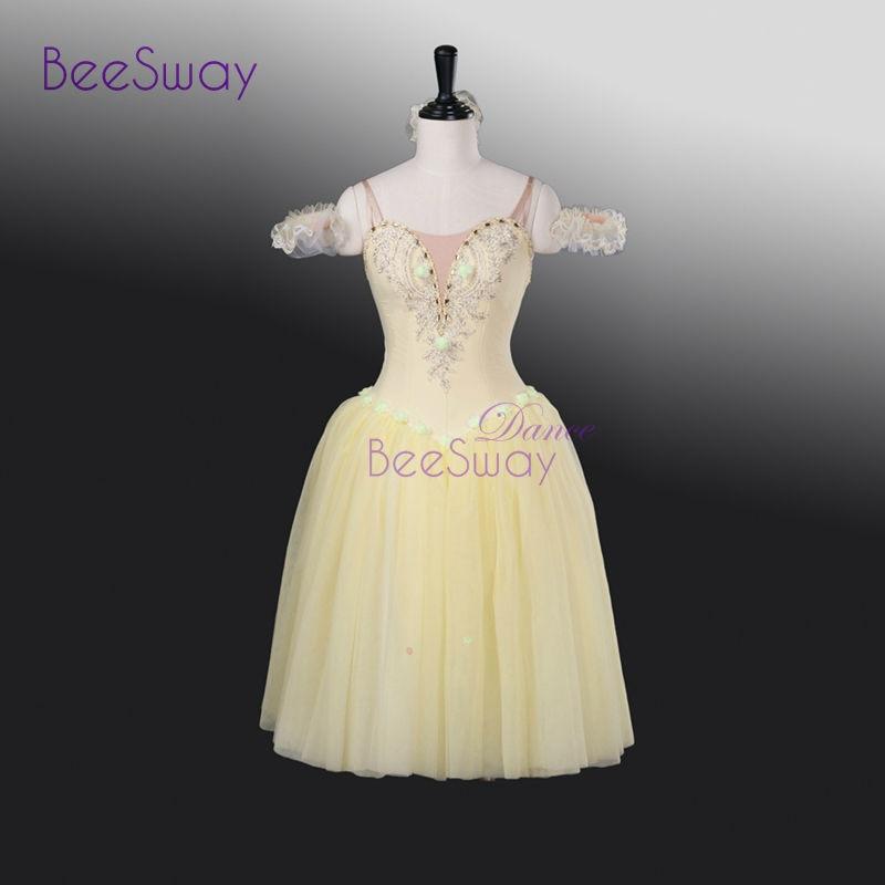 Lilac Fairy Ballet Long Tutu Dress Blue Women Professional Ballet Tutus Pink Romantic Tutu Ballet Stage Costume Yellow