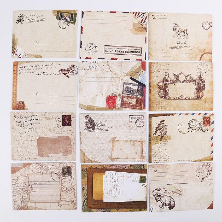 Neue Vintage Papier Umschläge Stil Alte Geschenk Brief Pad Pack Büro Schule Versorgung Mini Umschlag Papier Karte Umschläge 12 Teile/satz