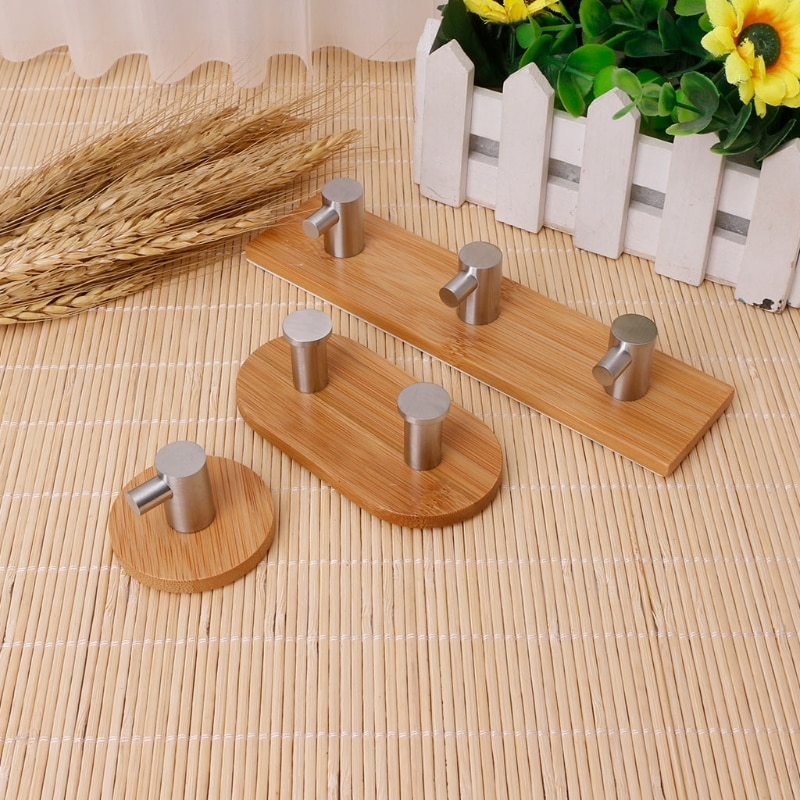 Adhesive Bamboo Stainless Steel Hooks Wall Bag Key Hanger Towel Rustproof Shelf