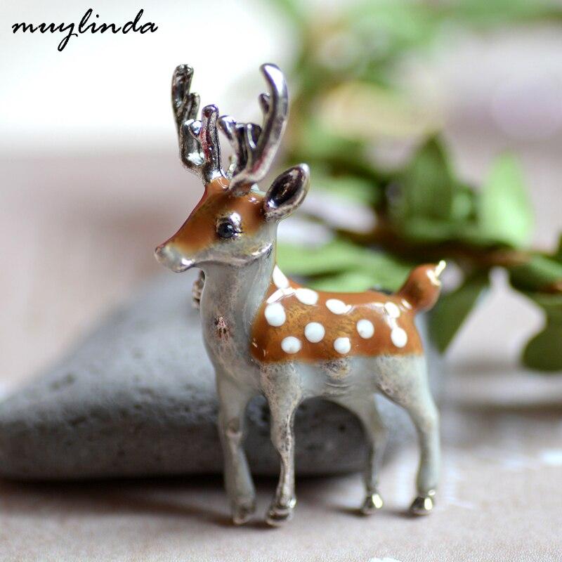 Muylinda эмалированная брошь в виде оленя, Модные металлические броши, булавки для женщин, ювелирное изделие в виде животного, брошь, шарф, зажим для свитера