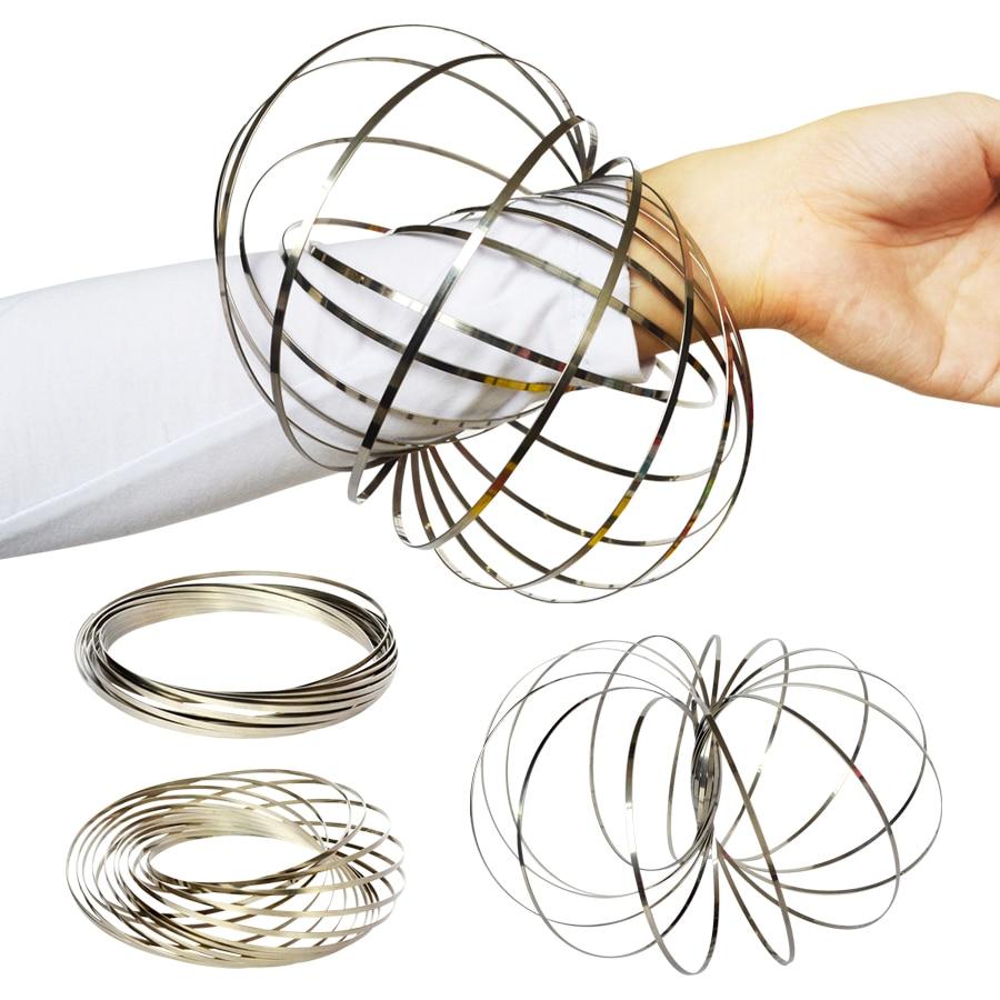 Удивительное кольцо потока игрушки кинетическая Весенняя игрушка забавная уличная игра интеллектуальная игрушка металлический Спиннер волшебное ручное кольцо Спиннер