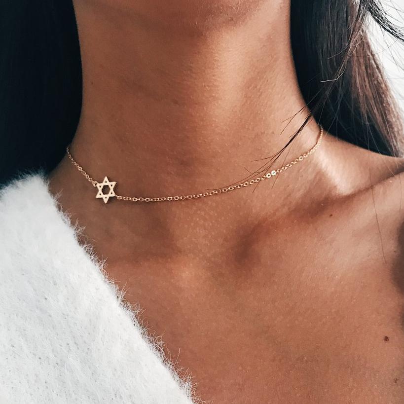 Sideways Star Of David Necklace For Women Tiny Star Simple Minimalist Charm Coker Necklace Dainty Bat Mitzvah Jewelry Gift