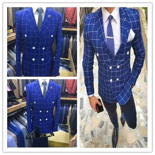 جديد Terno Masculino بوتيك منقوشة أحدث معطف بانت تصاميم الرجال دعوى الأزرق بلغت ذروتها طية صدر السترة مزدوجة الصدر رجل الدعاوى الأعمال 2 فطيرة