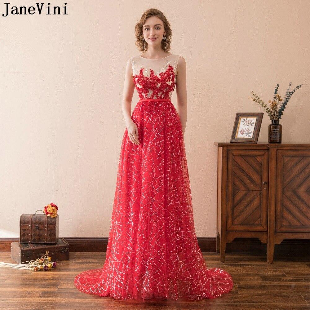 JaneVini de lentejuelas brillantes rojo largo vestidos de damas de honor con...