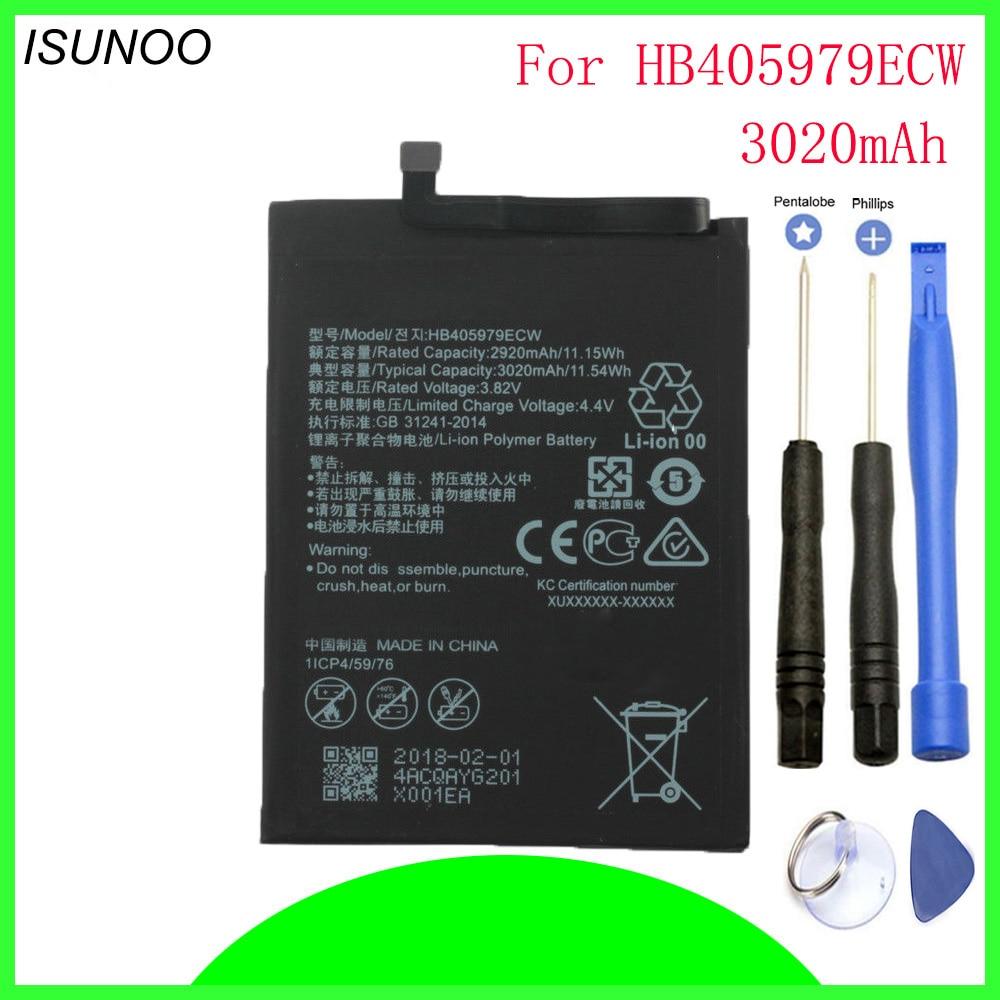 ISUNOO 3020 mAh Bateria Para Huawei Nova CAZ-AL10 HB405979ECW CAZ-TL00 Desfrutar de 6 S honra 6c Y6 PRO 2017 Y5 2017 p9 mini lite + ferramentas