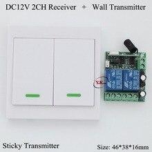 Panneau mural de contrôle daccès à distance   Transmetteur de télécommande DC 12V 2 CH, canal de Contact récepteur de relais, demande 2 CH apprentissage
