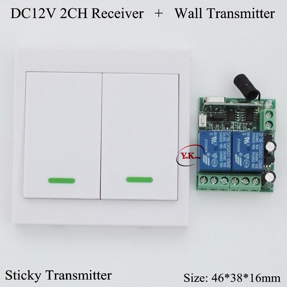 Control de Acceso interruptor remoto Panel de pared transmisor remoto DC 12V 2 canales relé de contacto receptor ASK 2CH aprendizaje Independe