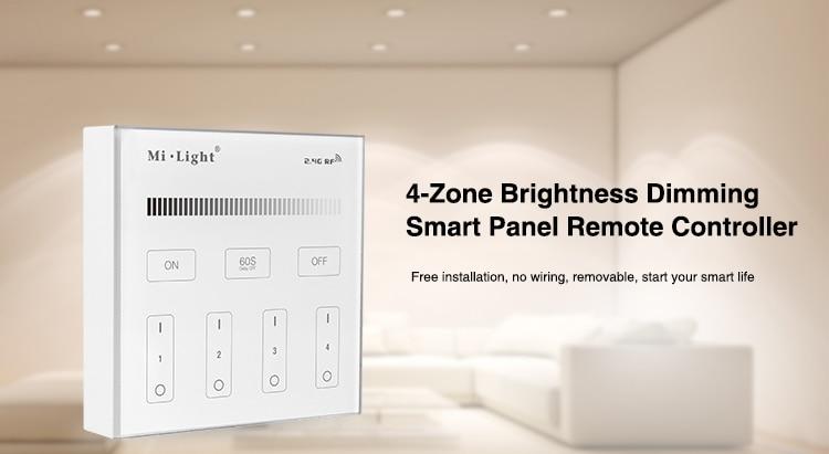 Mi Light B1 4-Zone brillo Dimmer Panel táctil inteligente control remoto Powerd por 3V (2 * pilas AAA) montaje en pared 2,4G inalámbrico