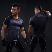Marvel Superhero Compression Shirt Men's Jersey Business Suit Bike Short Sleeve Shirt High Breathable Underwear Jersey Men's MMA
