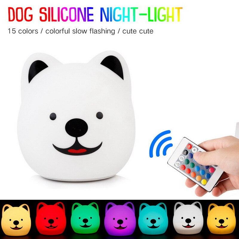 FENGLAIYI, luces de escritorio de noche, habitación de bebé, perro de dibujos animados, luz Led de noche, lámpara de cama para niños, lámpara para dormir por la noche, lámpara de mesa, iluminación interior