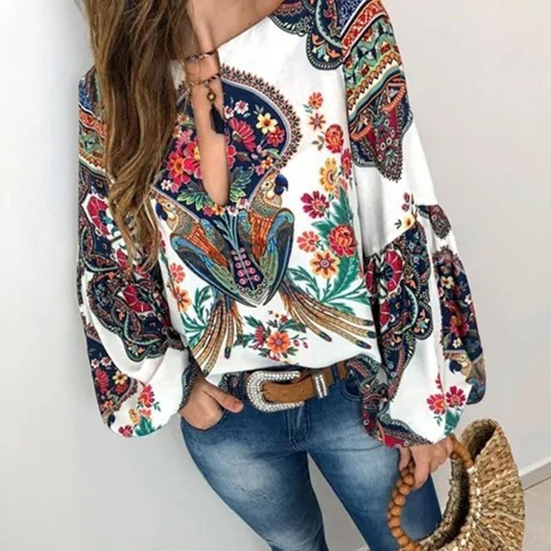 WENYUJH Women Bohemian Clothing Plus Size Blouse Shirt Vintage Floral Print Tops Ladies S Blouses Casual Blusa Feminina 2020