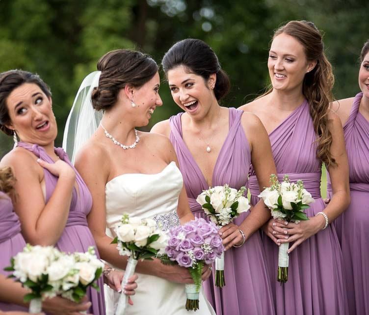 فستان العروسة قصير غير متماثل ، قابل للتحويل ، إنفينيتي ، متعدد الاتجاهات ، لف ، حفلة موسيقية ، زفاف ، شيفون ، 2019