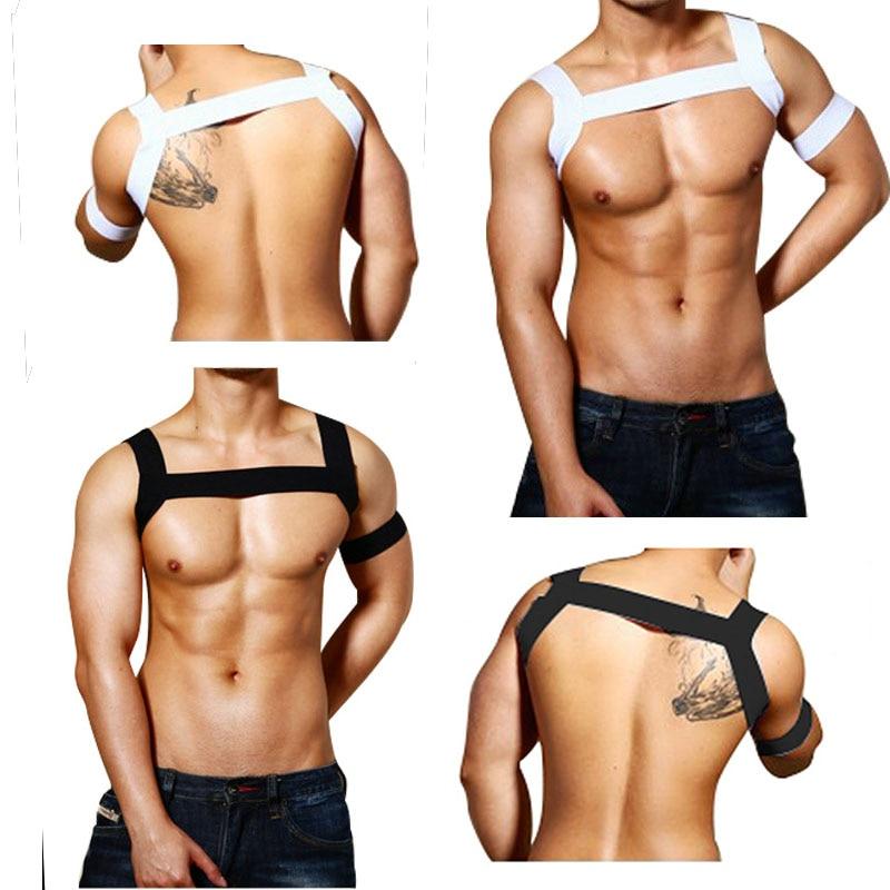 Sexy Elastische Bandage Tops Bandjes Korte Shirt Mannen Lash Harnas Mannelijke Erotische Lingerie Gay Exotische Tanks Nemen Oefening Wild Clubwear