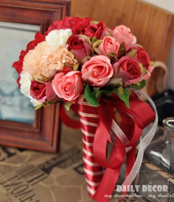 2017 Новый Свадебный букет цветов для невесты/подружки невесты искусственная красная роза искусственная Гортензия Свадебный букет Бесплатн...