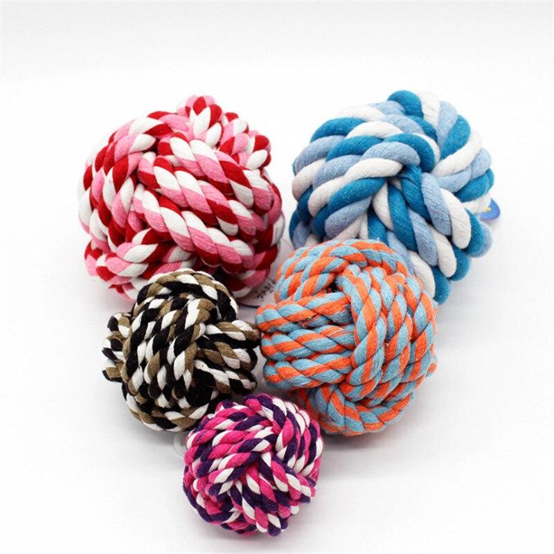 Купить с кэшбэком rope Dog Toy Baby Dog Cat Toys Rainbow Durable Cotton rope Play Balls For Pets Toys