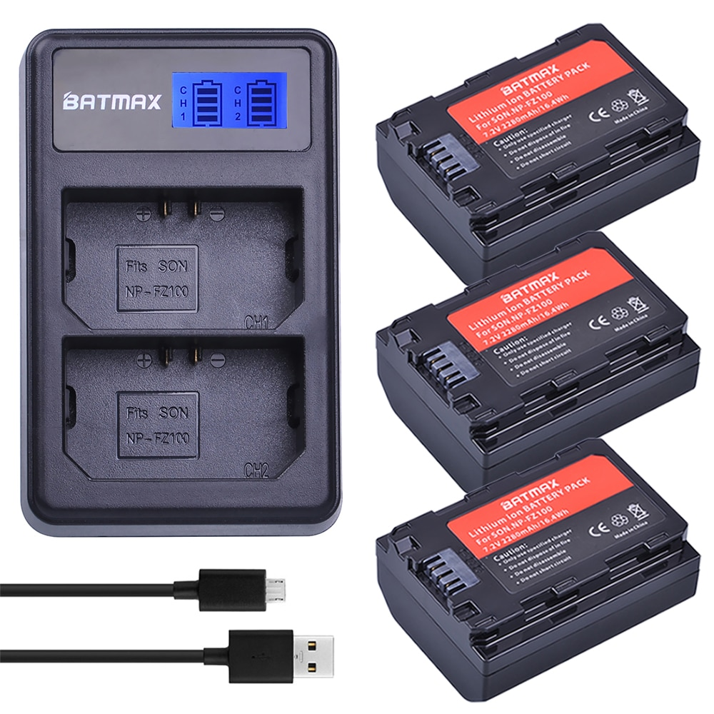 3 uds NP-fz100 batería NP FZ100 batería recargable + LCD doble USB cargador para Sony Alpha 9 A9 9R A9R 9S A9S A7RIII A7R3 7RM3 A7