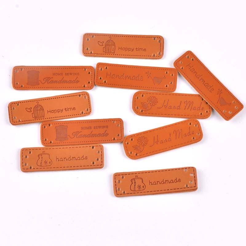 10 Uds ropa de cuero de PU etiquetas DIY etiquetas hechas a mano parche costura Patchwork accesorios para la costura de prendas CP2184