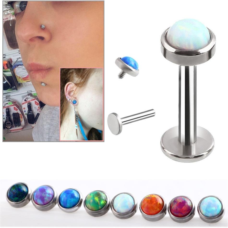 16G 8mm 316L Chirurgische Stahl Opal Labret Lip Stud Ringe Sexy Stein Stil Lip Stud Fashion Ohrringe Monroe piercing Körper Schmuck