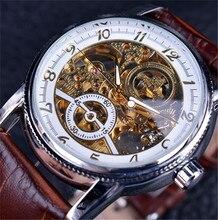Montre avec bracelet en cuir marron pour hommes, boîtier doré de luxe, Design décontracté, bracelet en cuir marron, montres en creux pour hommes, montre transparente à squelette mécanique