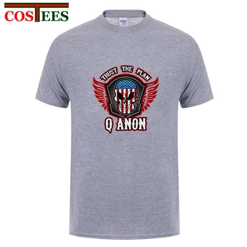 QAnon Trust el Plan patriótico camisetas hombres América mapa cráneo y alas Q Anon hombre Camisetas Camiseta hombre de hip hop hipster camiseta