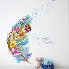 % Olourful 3d vivid tüy kelebek kuşlar çiçek duvar çıkartmaları ev dekorasyon oturma odası pvc duvar çıkartmaları diy duvar sanatı poste
