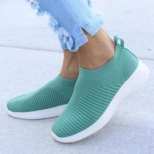 รองเท้าผู้หญิงถักถุงเท้ารองเท้าผ้าใบผู้หญิงฤดูใบไม้ผลิฤดูร้อนแบนรองเท้าผู้หญิงพลัสขนา...