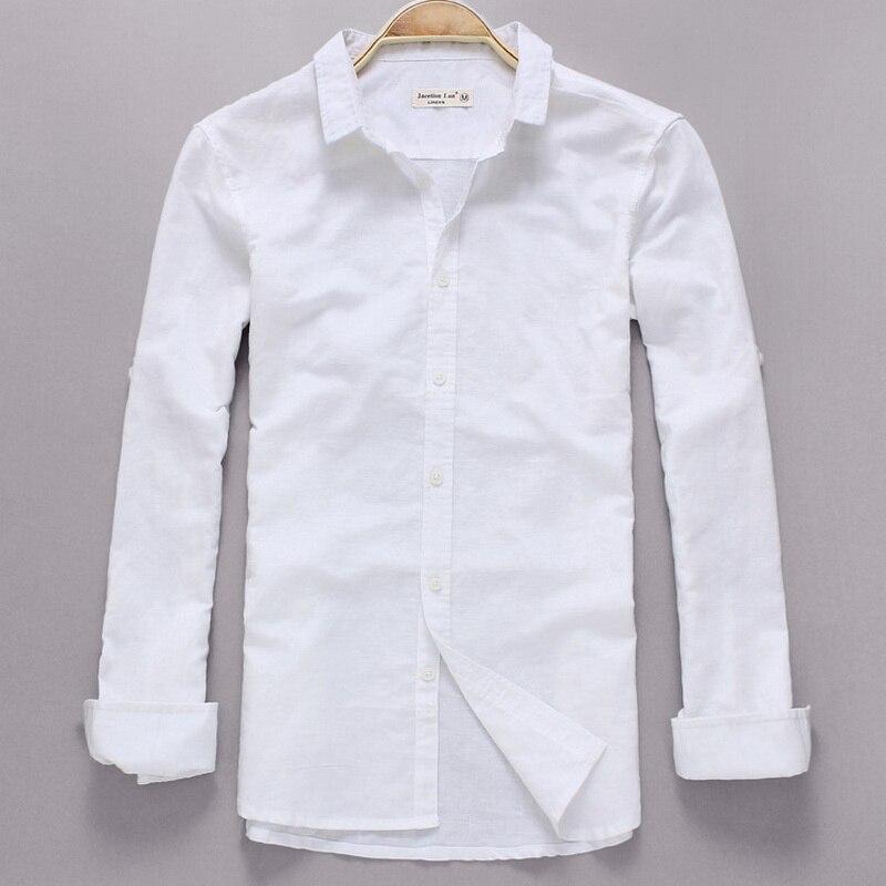 قميص رجالي بأكمام طويلة ، ملابس غير رسمية من الكتان الأبيض ، قميص ذو علامة تجارية ، موضة الخريف