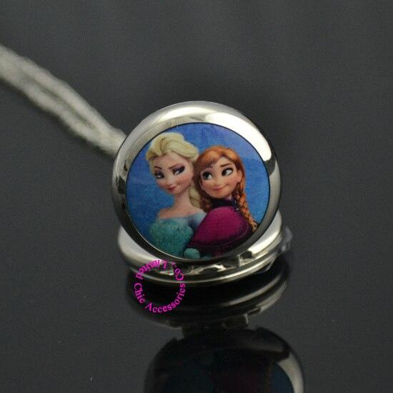 Plata Azul 2 dos bonitos dibujos animados hermana Elsa Anna bolsillo reloj collar mujer chica niña niño nueva moda nueva caliente regalo antibrittle